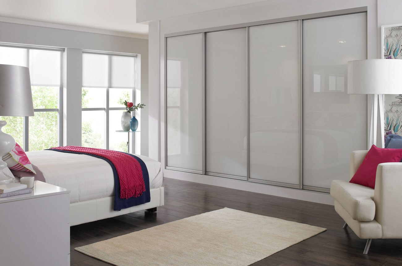 white sliding wardrobe